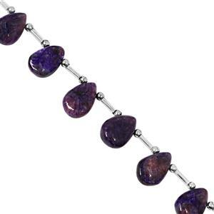 80cts Charoite Top Drill Smooth Pear Approx 13x9 to 18x13mm, 20cm Strand with Spacers