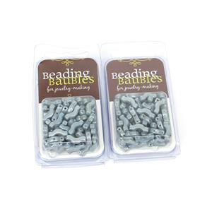 Under £10! 2x Bridge Beads - Blue Lustre, 3x12mm (20GM)