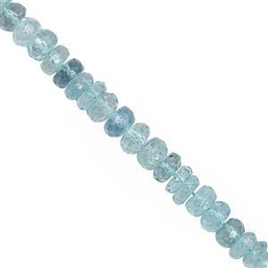 92cts Aquamarine Graduated Faceted Rondelles Approx 4x2 to 7x4mm, 30cm Strand