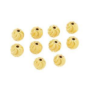 Gold Plated Brass Diamond Cut Stardust Swirl Beads, Approx. 7mm (10pk)