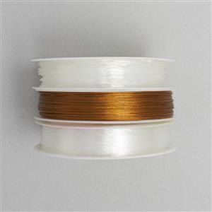 Rose Gold Coloured Stainless Steel Beading Thread with Monofilament and Elastic OGPO81