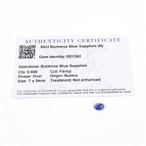 0.8cts Burmese Blue Sapphire 7x5mm Oval  (N)