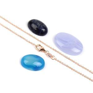 Cabochon Bundle; Blue Lace Agate, Blue Lace Agate with Quartz, Sodalite & 925 Rose Chain