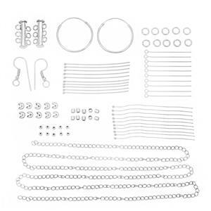Silver Plated Base Metal Findings Pack Inc. Multi Strand Clasp & Hoop Earrings (77pcs)