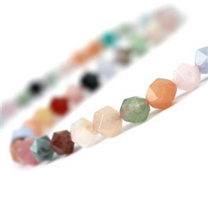 110cts Multi Gemstone Star Cut Rounds Approx 8mm, 38cm Strand