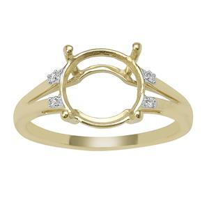 9ct Gold Round Ring Mount (To fit 10x10mm gemstone) With 4 Diamonds