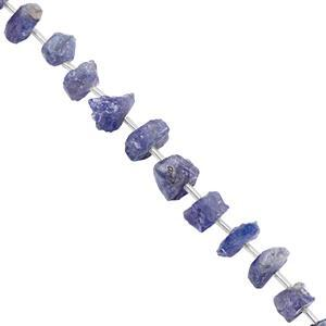 90cts Tanzanite Rough Nugget Approx 9x5 to 14x9mm, 20cm Strand with Spacers