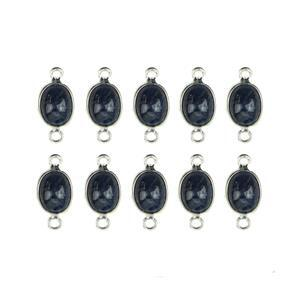 925 Sterling Silver Bezel Connectors Approx 16x8mm Inc. 25cts Blue Sapphire Oval Approx 9x7mm (10pcs)
