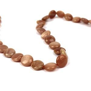 150cts Sunstone Puffy Coins Approx 12mm, 38cm Strand