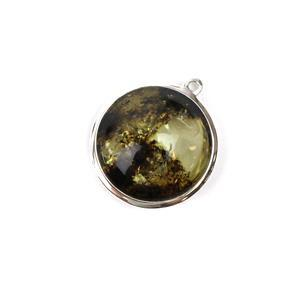 Baltic Earthy Amber Sterling Silver Pendant Approx 23x21mm