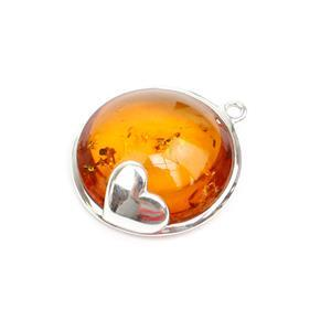 Baltic Cognac Amber Heart Pendant, Approx. 23x21mm