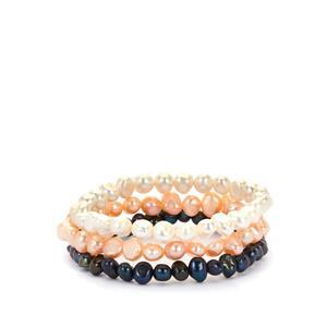Kaori Cultured Pearl Set of 3 stretchable bracelets (6mm)