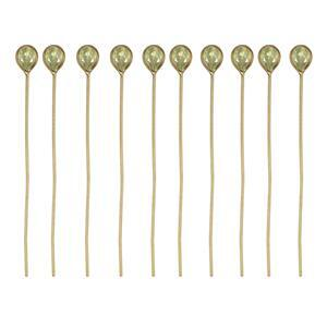 Gold Plated 925 Sterling Silver Head Pins With 4x3mm Pear Peridot - 40mm, Width 0.5mm - (10pcs)