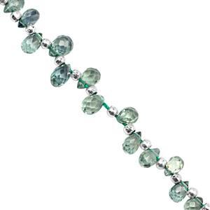 8cts Green Sapphire Top Side Drill Graduated Faceted Drops Approx 2.5x1.5 to 4.5x3mm, 15cm Strand with Spacers