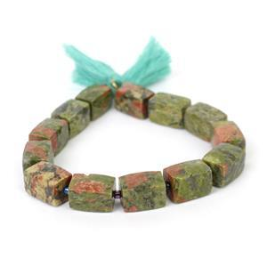 230cts Unakite Faceted Rectangles Approx 10x14mm, 20cm strand