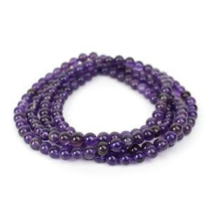 "220cts Amethyst Plain Rounds Approx 6mm, 36"" Endless Strand"