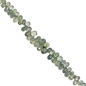 15cts Shaded Green Songea Sapphire Graduated Faceted Drop Approx 3x2 to 5x3mm, 9cm Strand