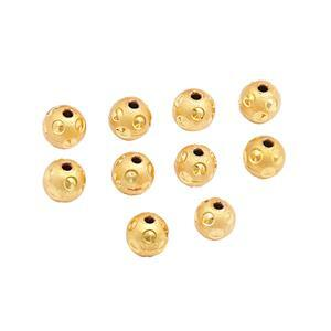 Gold Plated Brass Diamond Cut Spotted Beads, Approx. 7mm (10pk)