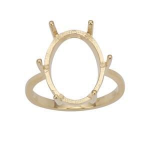 Gold Plated 925 Sterling Silver Ring Mount (To fit 16x12mm Oval Gemstones)