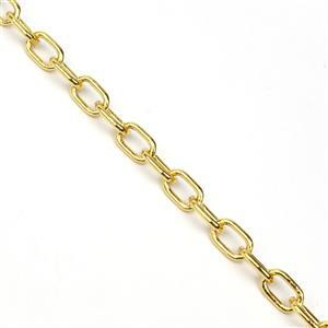Gold Plated Base Metal Long Link Chain, Approx. 10mmx6mm (1m)