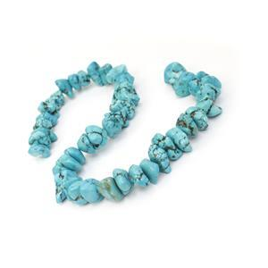 450cts Dyed Light Blue Magnesite CenterDrilled Nuggets Approx 13x4 - 20x10mm, 38cm Strand