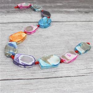 360cts Tie-Dye Agate Slabs Appox 19x28 - 22x33mm, 38cm strand