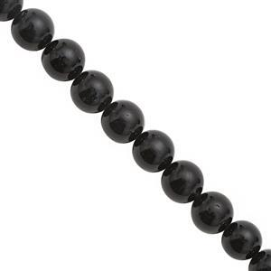 115cts Black Tourmaline Smooth Round Approx 8 to 8.50mm, 20cm Strand