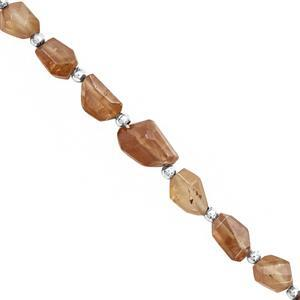35cts Zircon Faceted Tumble Approx 5x5 to 13x9mm, 11cm Strand with Spacers