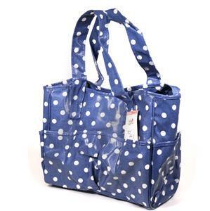 Light Blue/White Polka Dot Craft Bag (PVC)