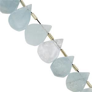 135cts Aquamarine Rough Pear Approx 14x9.7mm to 20x14.4mm 20cm Strand With Spacer