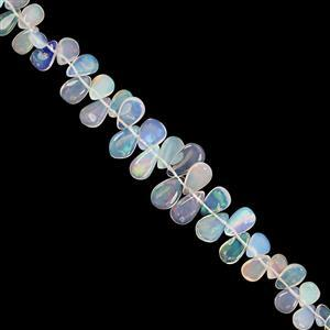 18cts Ethiopian Opal Graduated Top Side Drill Smooth Pear Approx 4.5x2.5 to 9.5x5.5mm, 18cm Strand