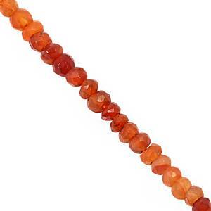 22cts Orange Carnelian Faceted Rondelle Approx 3x1.5 to 3.5x3mm, 30cm Strand