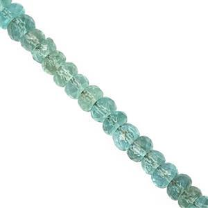 25cts Emerald Color Apatite Graduated Faceted Rondelle Approx 3x1.5 to 4.5x3mm, 20cm Strand