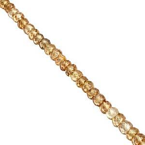 40cts Kaduna Zircon Graduated Faceted Rondelles Approx 3x1.5 to 4x2.5mm, 19cm Strand