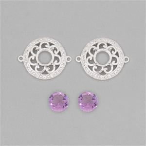 925 Sterling Silver Connector Mount Fits 7mm Round Inc. 2cts Amethyst 7mm Round with 0.15cts White Topaz Approx 1mm Round (2pcs)