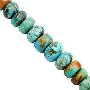 65cts Turquoise Graduated Smooth Roundelle Approx 5x2.5 to 9x6mm, 20cm Strand