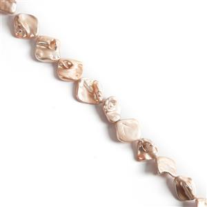 Pink Shell Pearls Flat Keshi Approx 19x22mm, 38cm Strand