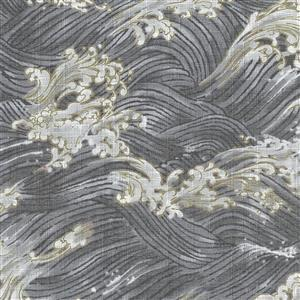 Umi in Grey Waves Fabric 0.5m