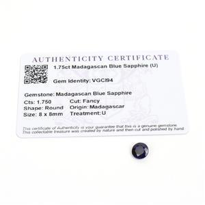 1.75cts Madagascan Blue Sapphire 8x8mm Fancy  (U)