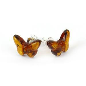 Baltic Cognac Amber Carved Butterfly .925 Sterling Silver Earrings (1pair)