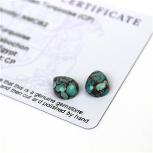 3.65cts Egyptian Turquoise 10x8mm Pear Pack of 2 (CP)