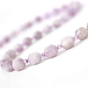 130cts Kunzite Faceted Satellite Beads Approx 8x7mm, 38cm Strand