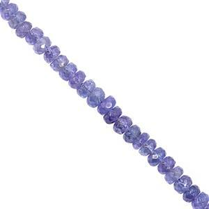 24cts Tanzanite Graduated Faceted Rondelle Approx 3x1.5 to 4x2.5mm, 15cm Strand
