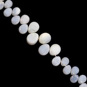 75cts White Opal Top Side Drill Smooth Flat Pear Approx 6x5 to 12.5x9.5mm, 17cm Strand