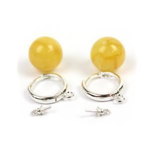 Sterling Silver Hoop Earrings (25mm) With Baltic Butterscotch Amber Rounds (12mm) - 1 Pair
