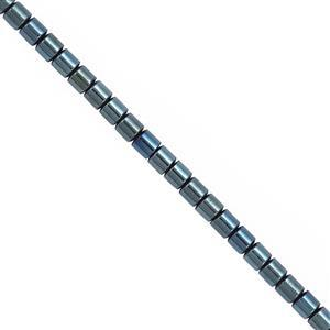 42cts Royal Blue Color Coated Hematite Smooth Tube Approx 3mm, 30cm Strand