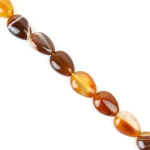 110cts Coffee Stripe Agate Puffy Pears Approx 10x14mm, 38cm/strand