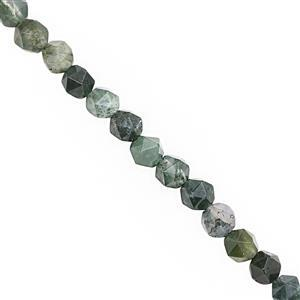 52cts Moss Agate Faceted Star Cut Approx 5.25 to 5.75mm, 28cm Strand