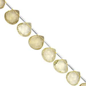 75cts Lemon Quartz Top Side Drill Faceted Heart Approx 9 to 13.50mm, 19cm Strand with Spacers