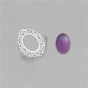 Size 7 925 Sterling Silver Cocktail Ring Mount Fits 14x10mm Oval Inc. 6cts Amethyst 14x10mm Oval Cabochon